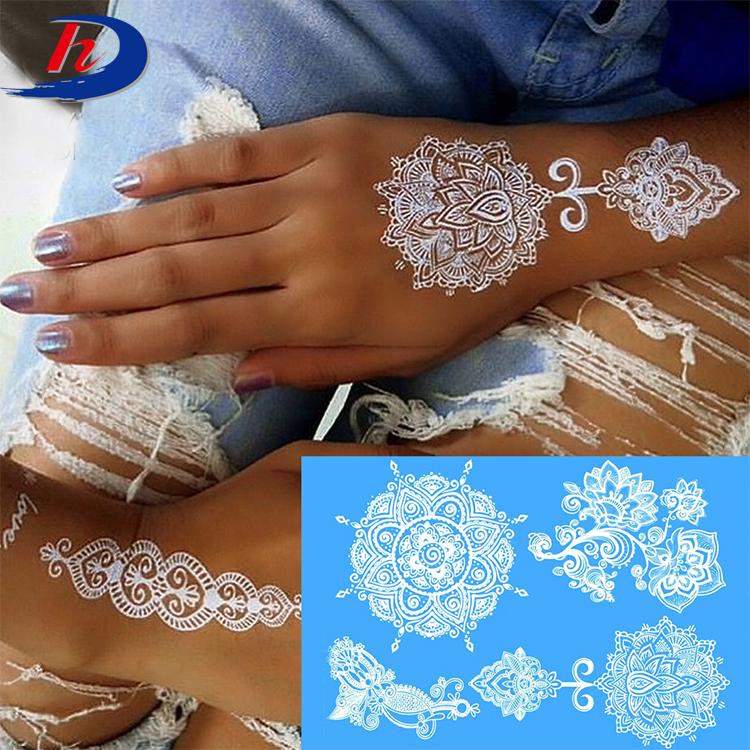 Oem Removal Wedding Bride India White Ink Henna Stencils Lace Body Sticker Temporary Tattoo