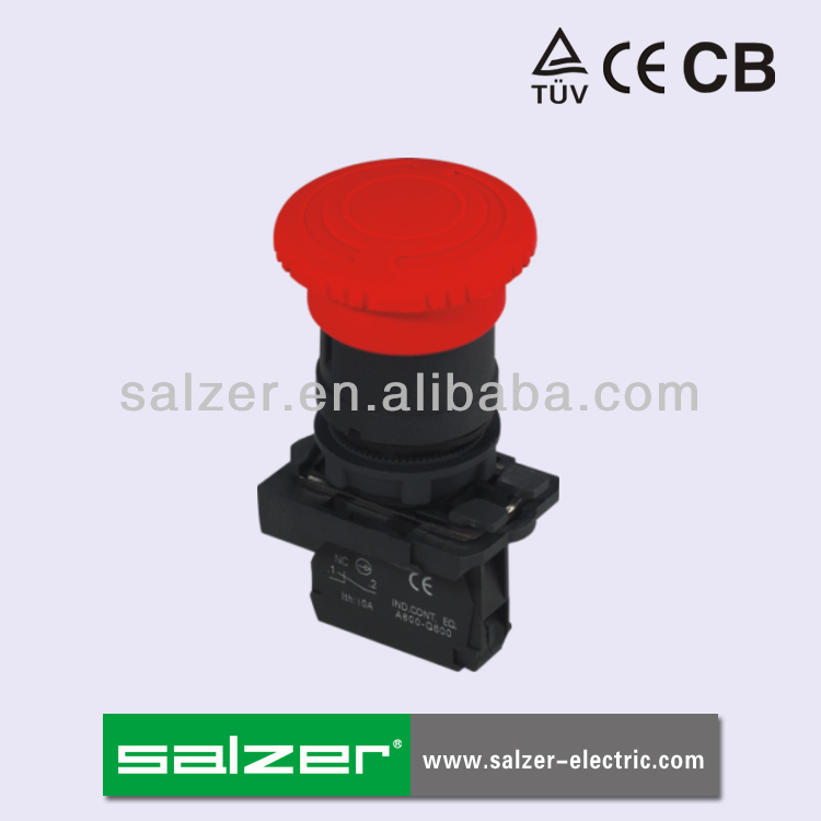 Salzer Brand SA22-AT42 Mushroom Head Push Pull Button Switch (TUV, CE and CB Approved)