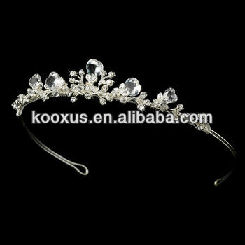 Regal Silver Clear Crystal Tiara Headpiece diadem pageant jewelry