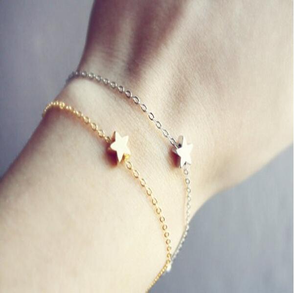 Золото серебро Simple цепь Star браслеты для женщины модное ювелирные изделия TS1218