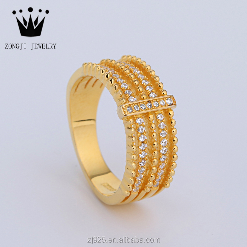 925 Sterling Silver Dubai Gold Ring Design For Women Wedding ...