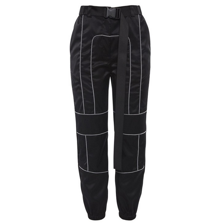 X87778B frühling lose design lady reflektierende hose frauen sexy casual cargo pants