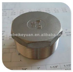 standard weight 150# stainless steel threaded hex head plug