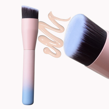 Gradient Pink Angled Liquid Foundation Makeup Brush Red