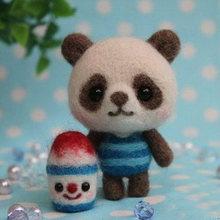 Креативная игрушка-игрушка в виде панды Lol Animal, шерсть, войлок, кошечка, не готовая, легко сделай сам, ручная работа, шерсть, материал для валя...(Китай)
