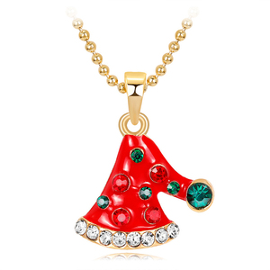 Latest cartoon cute red christmas hat shape rhinestone enamel children's christmas necklace