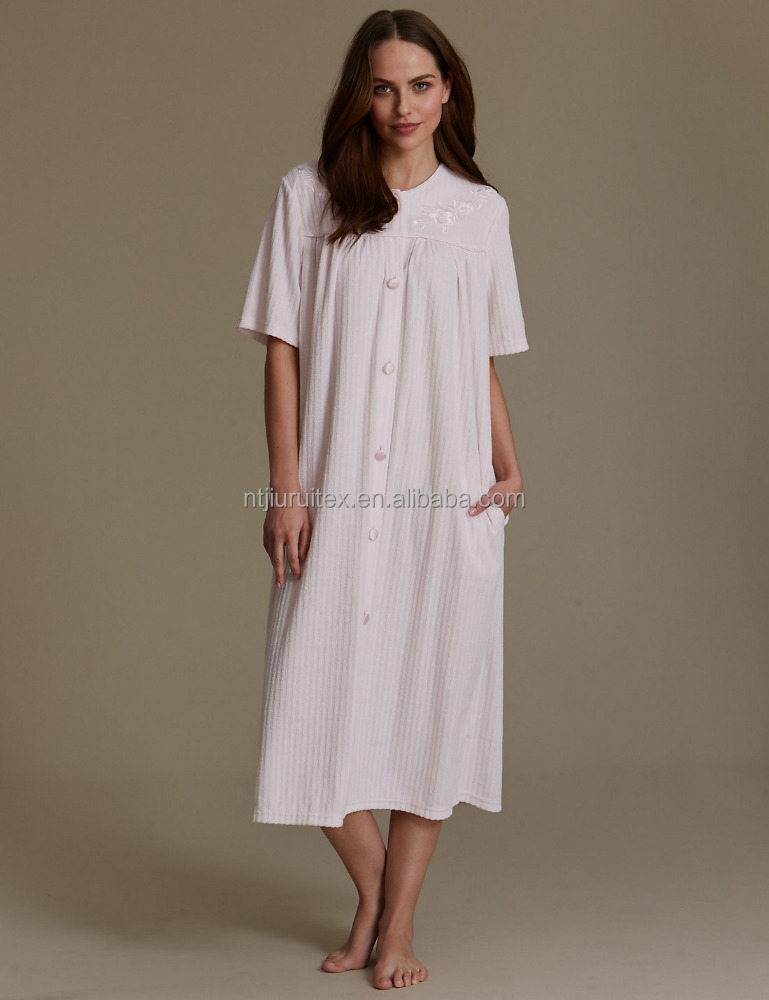 Ladies Button Through Towelling Dressing Gown,Women\'s 100% Ployester ...