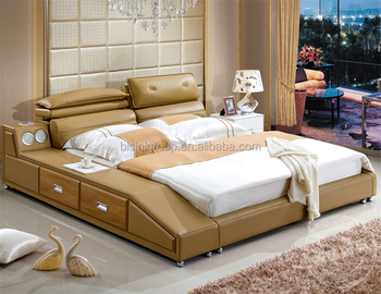 Bisini Modern Bedroom Furniture Soft Leather Bed King Size Music Bed With  Built In Speaker