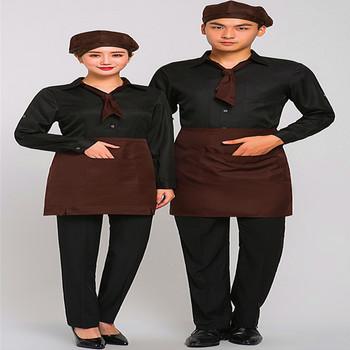Etiqueta  autoinflable almohada occidental camarero de restaurante de moda  ropa de trabajo OEM manga unisex 17ddb79163d49