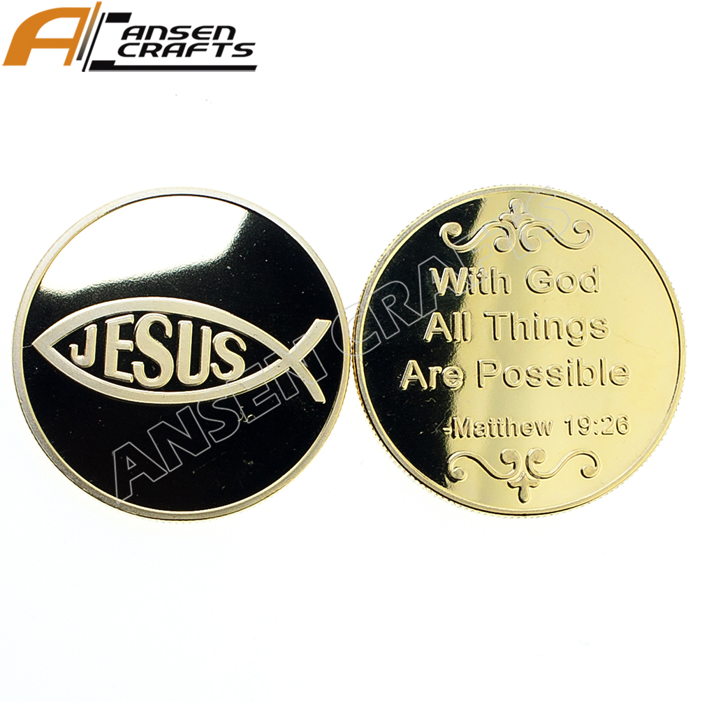 Custom Made Religious Gift Christian Religious Challenge Coin Jesus Fish Gold Coin