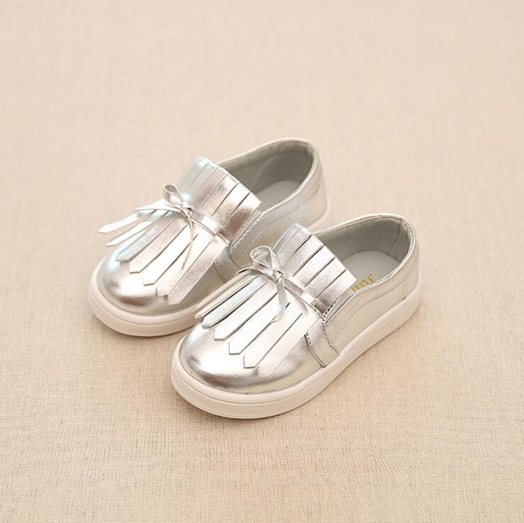New black + silvery + Golden Tassel Children Sneaker Kids Casual Shoes For Girls Soft Rubber Outsole shoes chaussure enfant