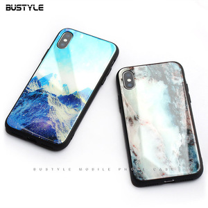 High quality Customized 0.8mm back Tempered Glass phone case cover for iphone 7 8plus X luxury