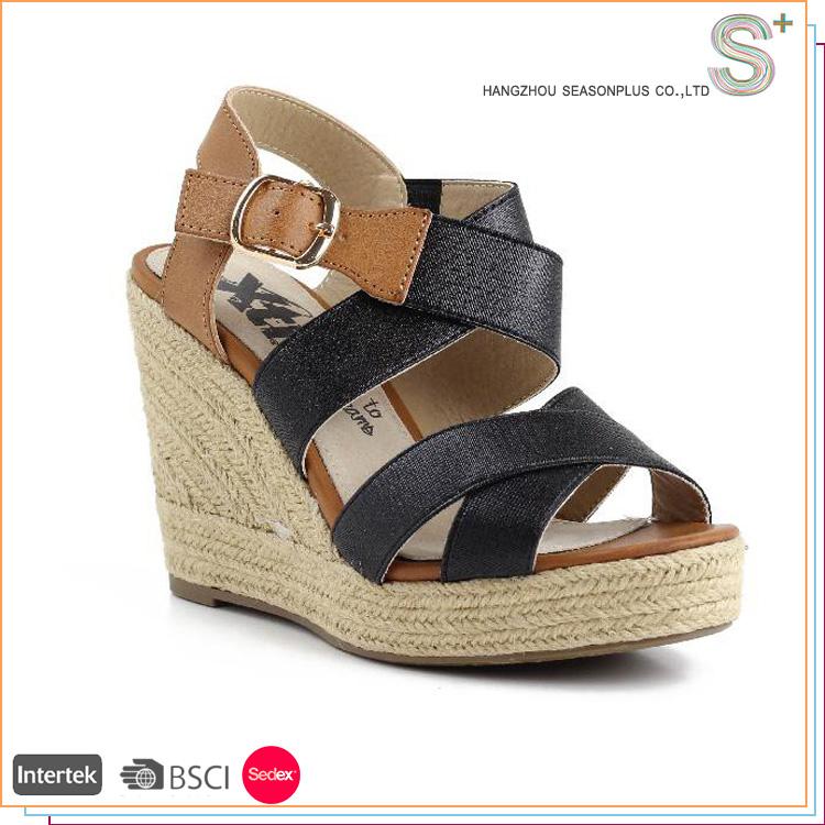 Nuevo estilo barato zapatos alpargatas de cuña de las mujeres japonesas