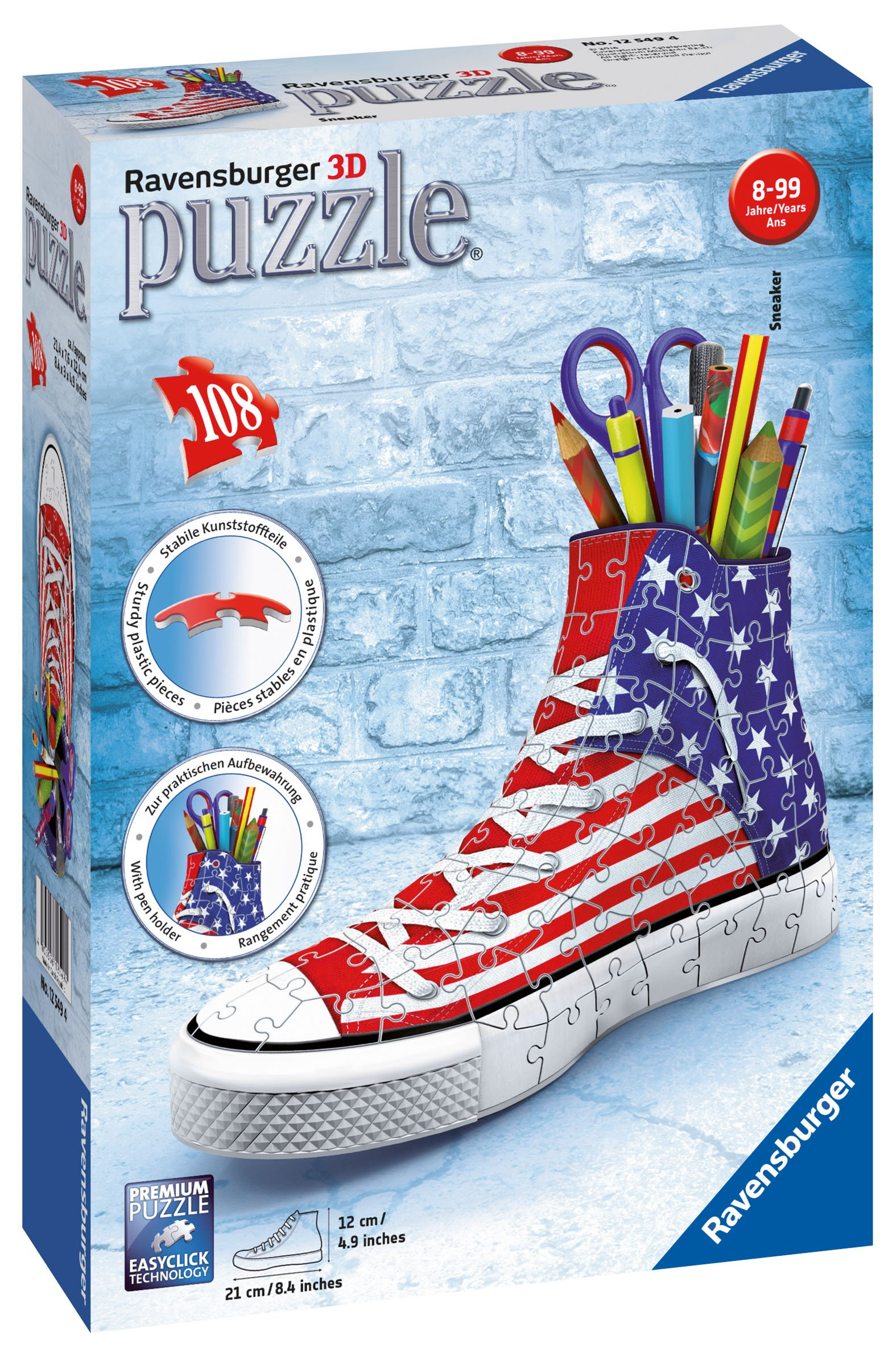 0ba4b1cc9bb Get Quotations · Ravensburger Sneaker American Style 108 Piece 3D Jigsaw  Puzzle for Kids and Adults - Easy Click