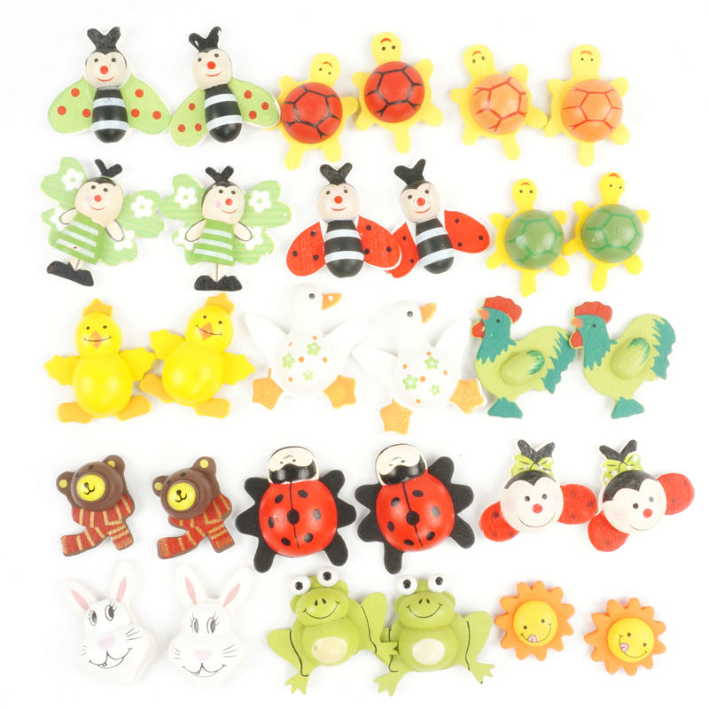 wood animal 3D wall stickers easter ladybug home decor kids toys cute wood crafts