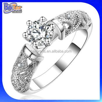 Grosshandel 925 Sterling Silber Einzigen Stein Ring Diamant Solitair