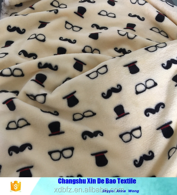 super soft pattern fabric printed glasses/hats/mustache for baby blanket