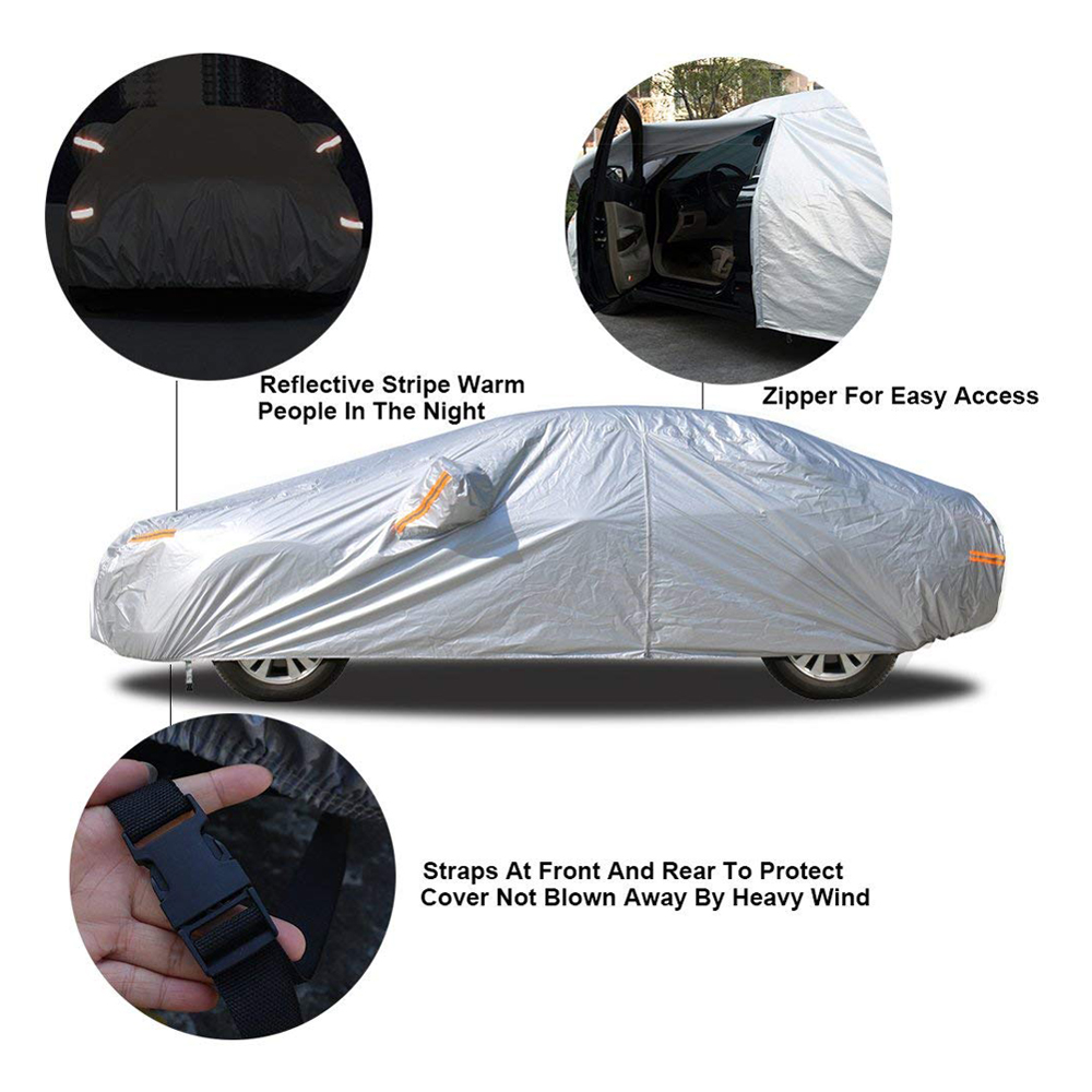 UV geremd 100% polyester waterdicht hagel proof auto cover met reflecterende streep