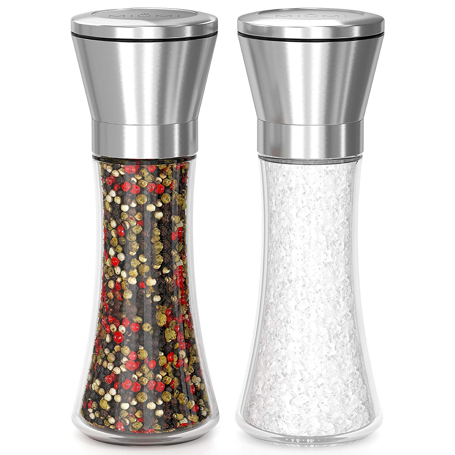 "SALE! Quality Salt and Pepper grinder set, Easy to Use and Adjustable Pepper Mill Set, Stainless Steel Spice Grinder with Large Capacity! Premium Pepper Grinder - set of 2 (7.5"" tall)"
