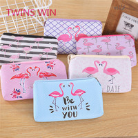 Wholesale Custom printed Logo Cartoon cute fancy flamingos design PVC keychain coin purse wallet