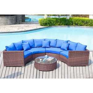 Poolside used half round wicker patio sofa set outdoor wholesale hotel furniture