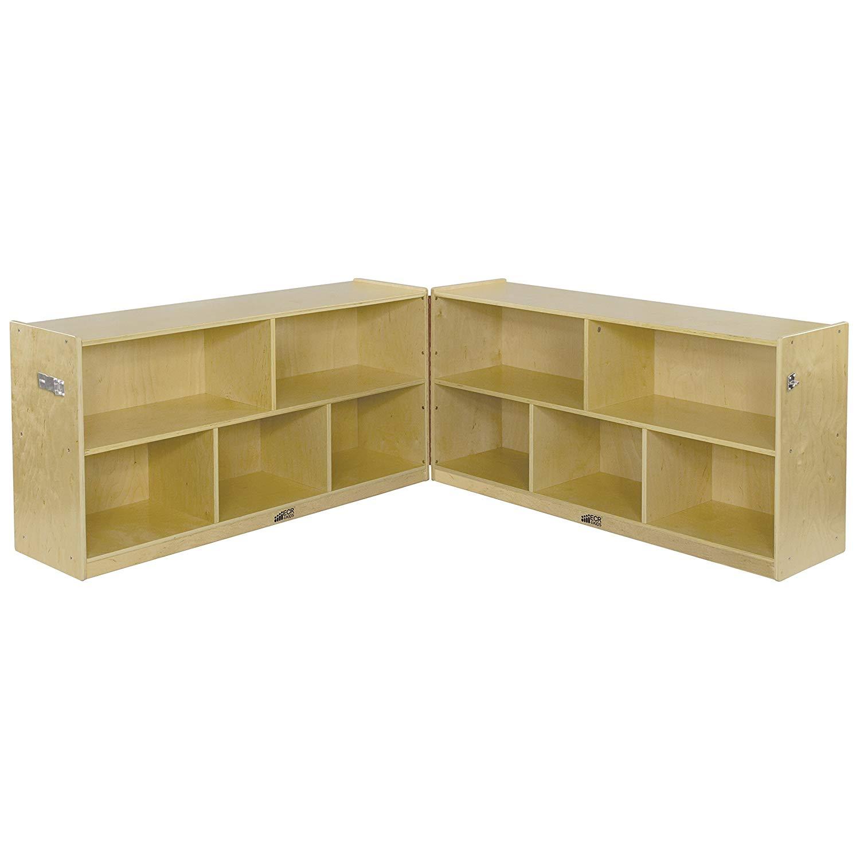 "ECR4Kids Birch School Classroom Fold & Lock, 5-Section Storage Cabinet, Natural, 24"" H"
