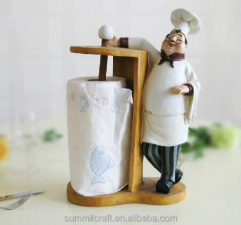 Attractive 3D Funny Chef Free Standing Figurine Kitchen Tissue Paper Roll  Holder