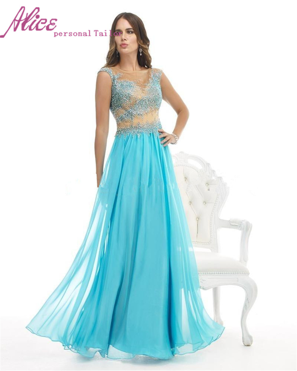 71a112c79e5 Get Quotations · Stylish New Crystal Beading Chiffon A-line O-Neck Ice Blue  and White Formal