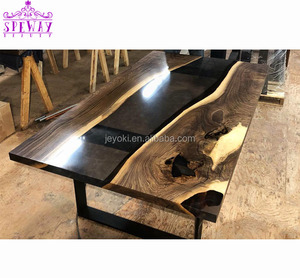 Customized live edge river table wood long clear epoxy resin table