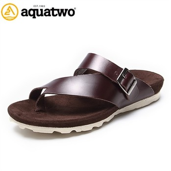 19e944b1a461 2017 New Design Aquatwo Brand Mens Leather Slippers With High Quality