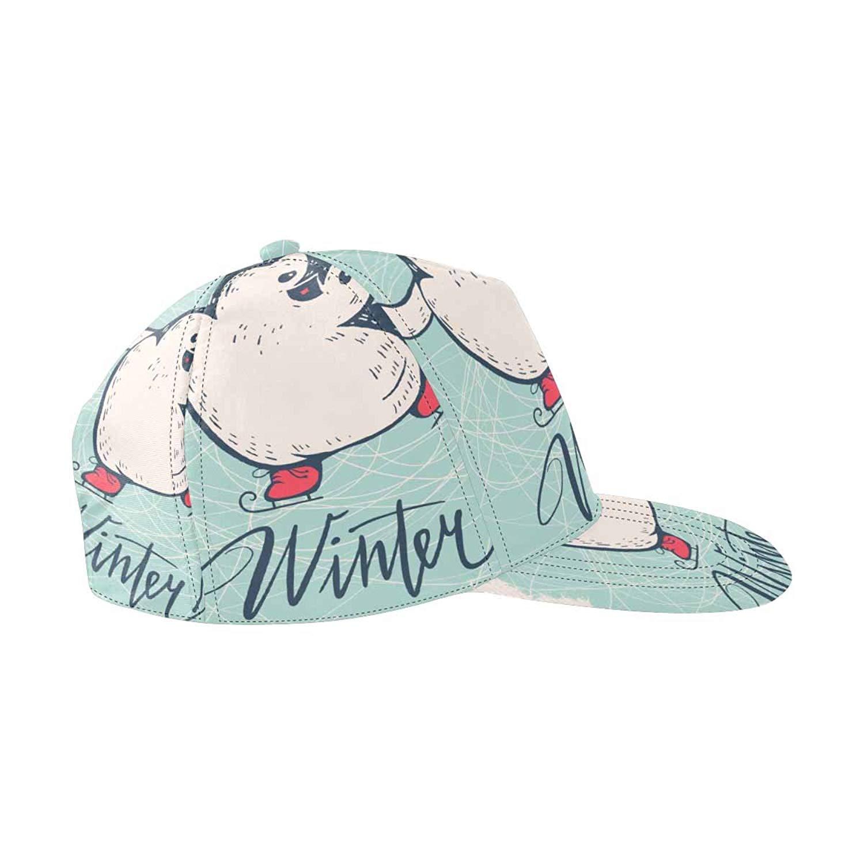 ee32a7365d4d1 Get Quotations · InterestPrint Winter with Funny Cartoon Penguin on Skates Snapback  Hats for Men Hip Hop Hats Flat