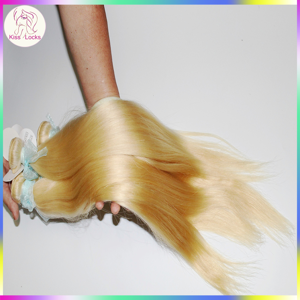Premium Platinum 613 blonde hair weave Straight texture weft extensions Wholesale factory NOT dealer