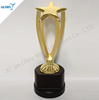 Custom Golden Metal Star Award Trophy With Wood Base