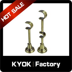 KYOK Top quality single adjustable curtain rod bracket,25mm wall mount brackets,metal curtain track extension brackets