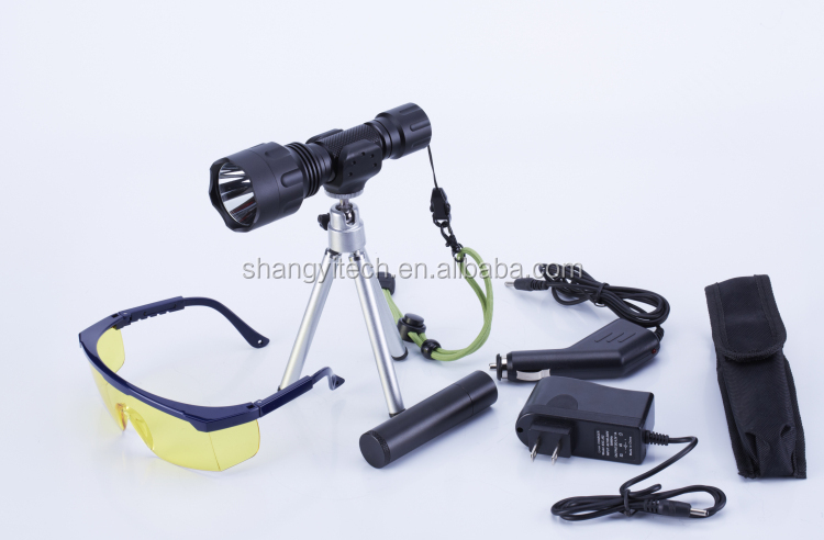 365NM Nichia UV Flashlight With Tripod And Protection Goggle