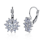 Valentines Day Love Gift 18K White Gold Plated Zirconia Flower Hoop Dangle Clasp Earrings Cubic Zirconia Allergy Free Earrings