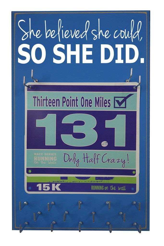 "Running On The Wall - Race Bib and Medal Display Rack- Wall Mounted Sports Medal Holder and Hanger for 5K, 10K and Marathons Runners - ""She Believed She Could So She Did"""