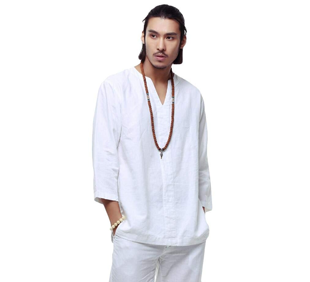 2454aa8e5f Get Quotations · Helisopus Mens Casual Loose Linen Cotton Shirt V Neck 3/4  Sleeve Banded Collar T