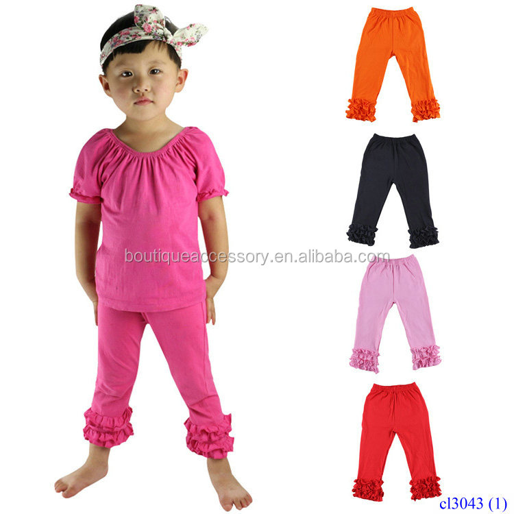 Fashion Colorful Children's Cotton Long Pants With Lace