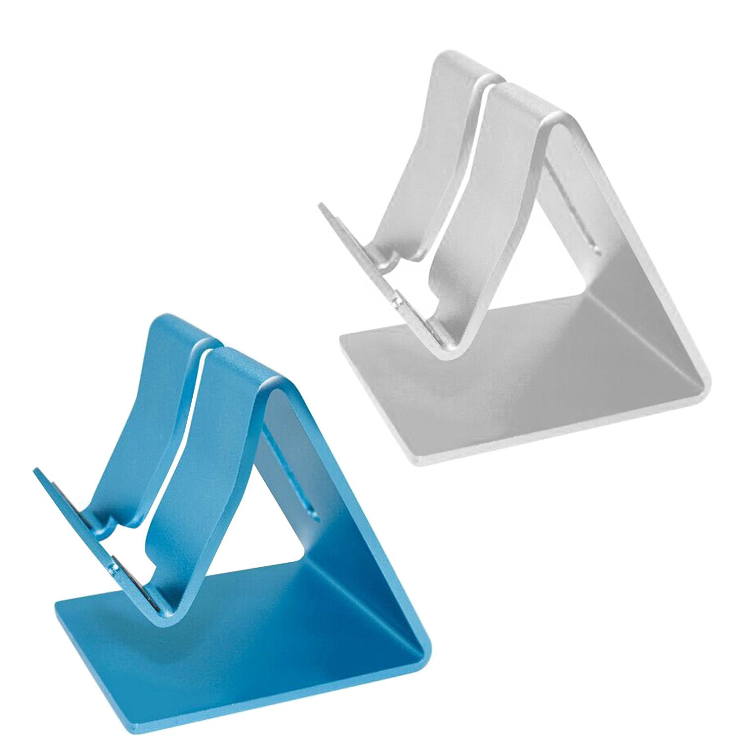 Litop 2 PCS Silver Color and Blue Aluminum Cell Phone and Tablet Stand for Coby Samsung Apple Lenovo Dell Asus Google iPhone LG HTC Nokia Motorola