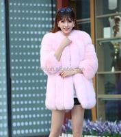 CM-R-10 Women Fashion Real Knitted Fox Fur Coat