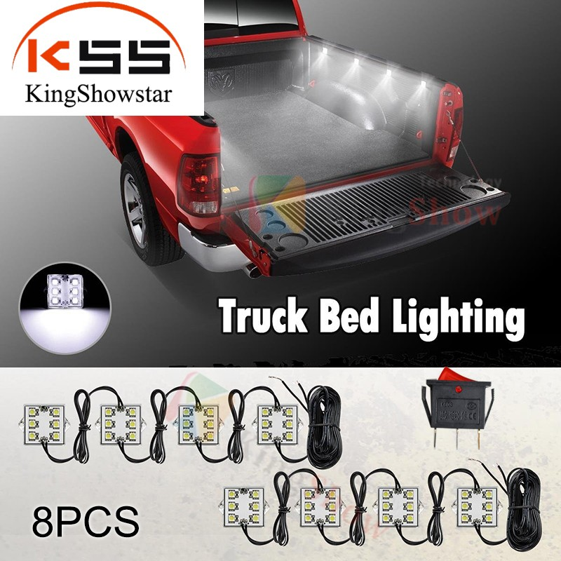 8pc White LED Truck Tool Box Lighting Light Kit with Auto On/Off Switch