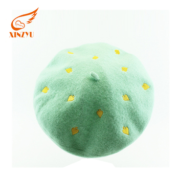 Top selling green embroidery logo custom embroidered french beret