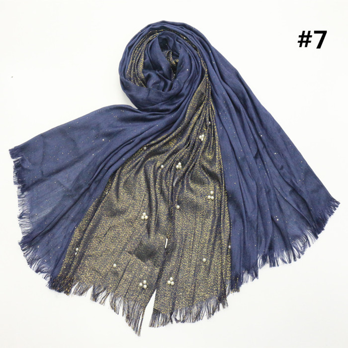 NEW Plain Color Shiny Shimmer Half of Silver Scarf Hijab with Nail White Beads Shawl Wrap