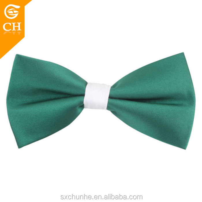 Wholesale Green Plain Men's Adjustable Bow Ties Hooks 100% Polyester