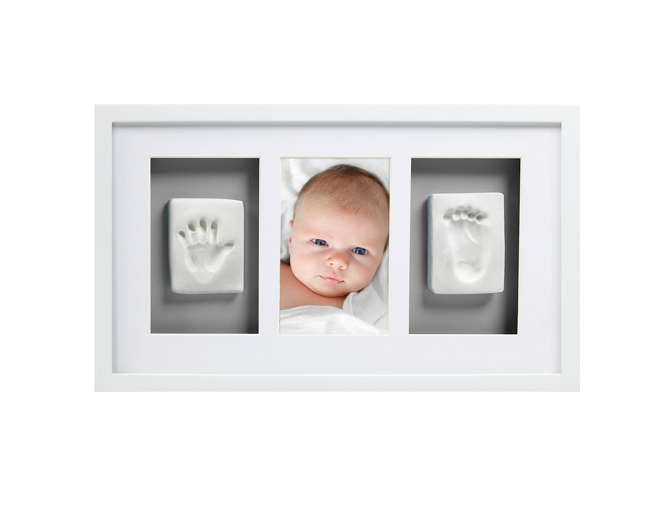 Pearhead Babyprints Newborn Baby Handprint and Footprint Deluxe Wall Photo Frame & Impression Kit - Makes A Perfect Baby Shower Gift, White