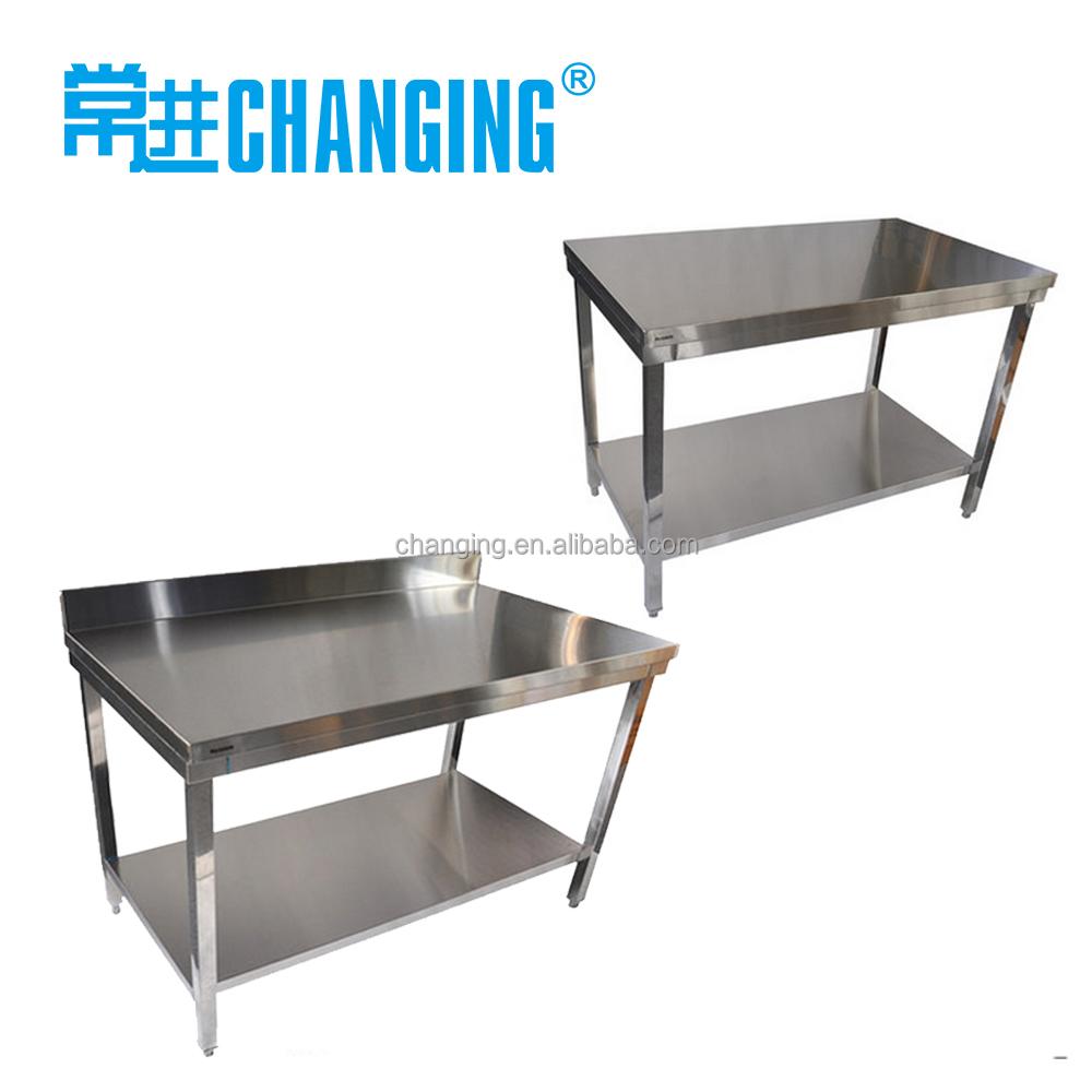 Stainless steel kitchen table hotel kitchen work table with backsplash buy work tablework benchkitchen stainless steel sink work table product on