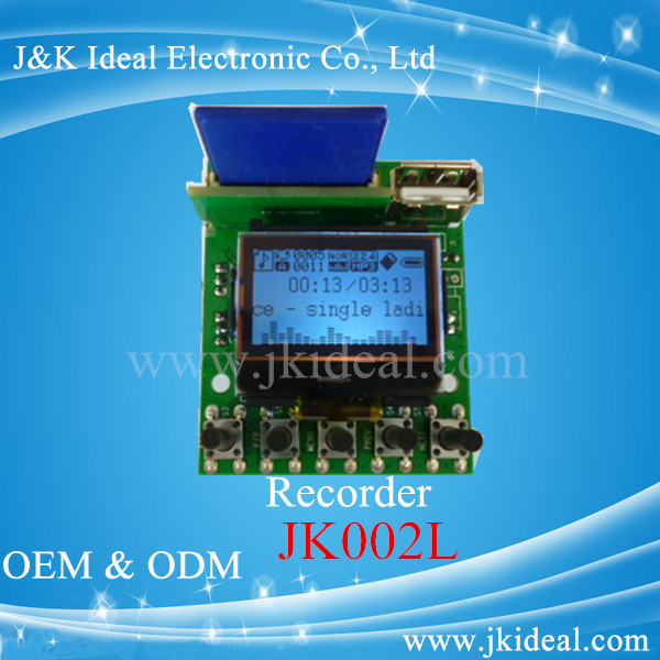 JK002L Recoder mp3 player module with usb sd LCD screen display with remote