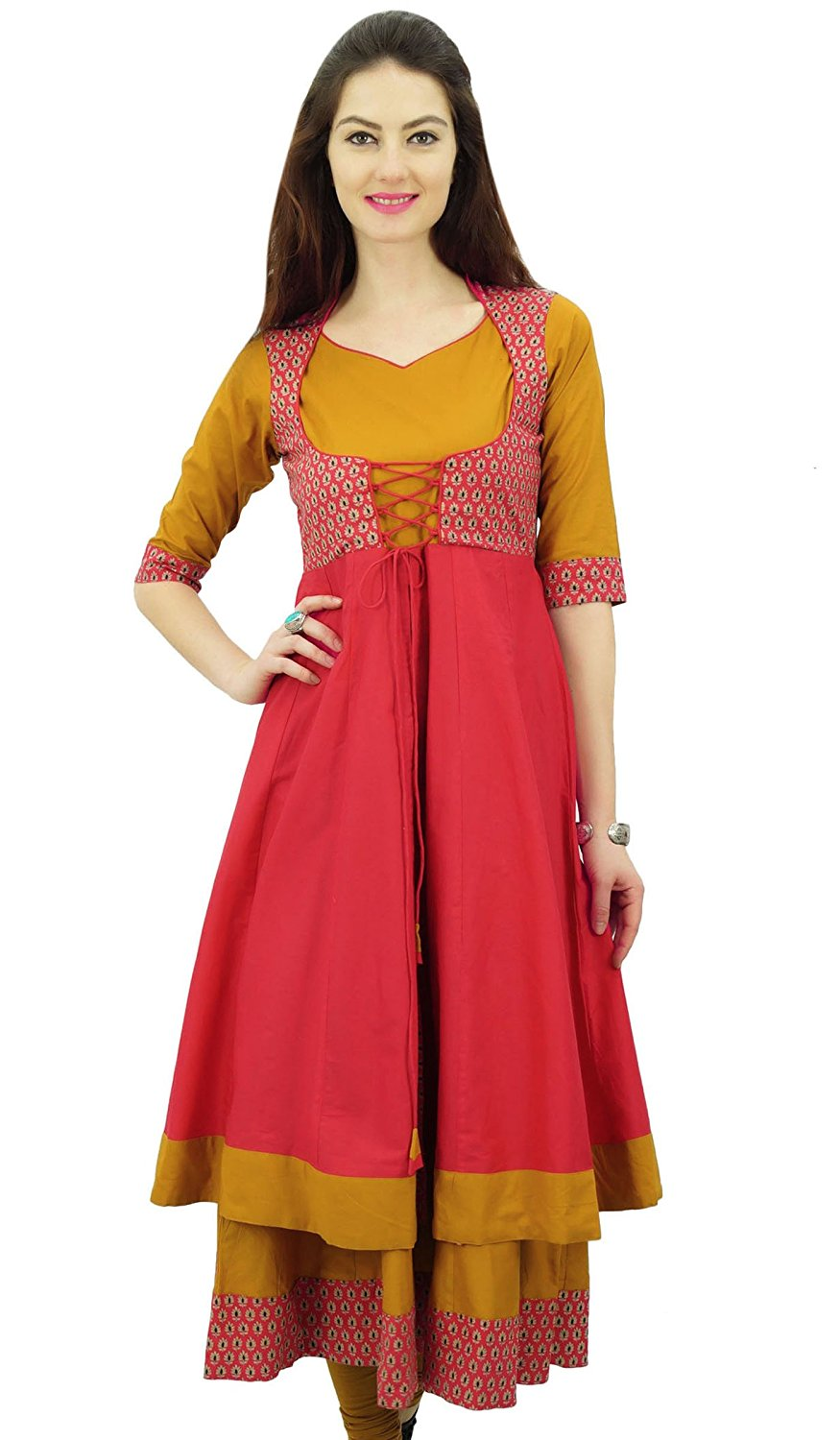 da678ed28c Get Quotations · Phagun Designer Double Layer Anarkali Kurti Dori Jacket  Style Indian Dress