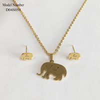 New Arrival Stainless Steel Elephant Gold Plated Jewelry Gift Set for lady
